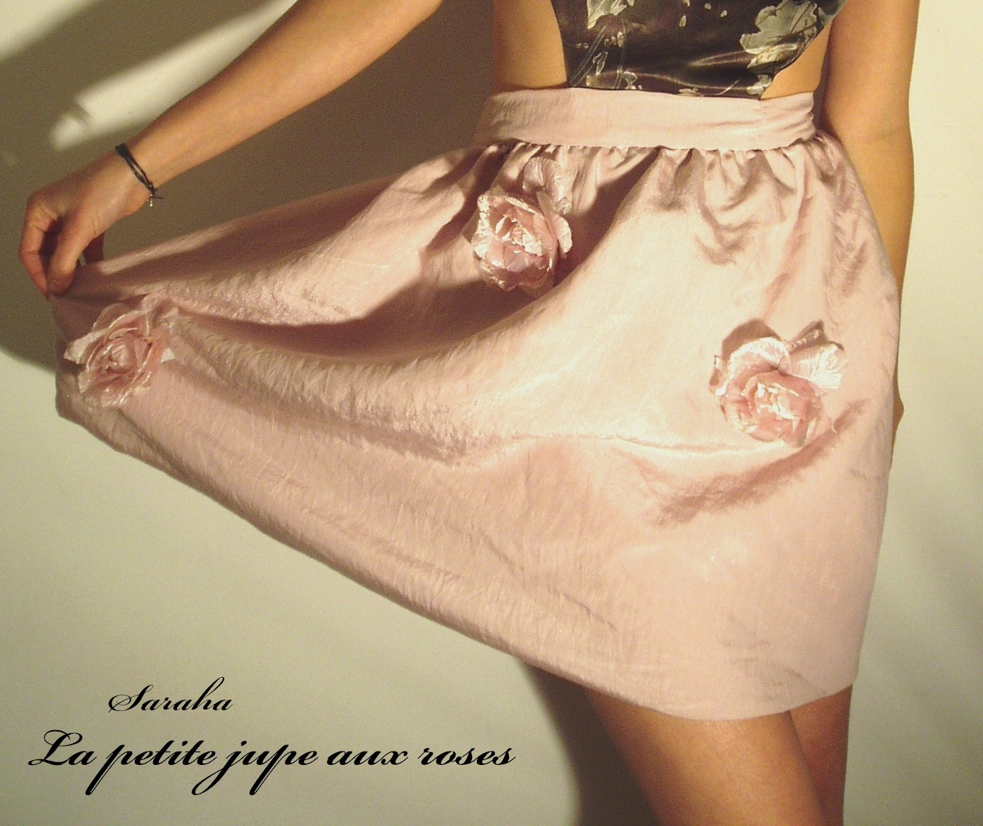jupe, rose, bohème, romantique, vintage, mini jupe